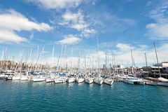 Barcelona port yachts on the sea and sky backgroung Royalty Free Stock Images