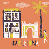 Barcelona, Print Design. Cartoon illustration depcicting a woman strolling past the Arc de Triomf in Barcelona built as the main access gate for the 1888 Royalty Free Stock Image