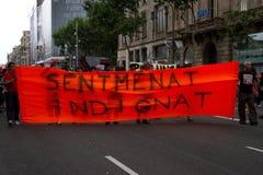 Barcelona protestiert 19J Stockfoto