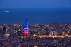 Barcelona przy nocy Agbar wierza Obraz Royalty Free
