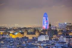 Barcelona przy nocy Agbar wierza Zdjęcia Royalty Free