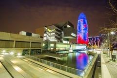 Barcelona przy nocy Agbar wierza Obrazy Stock
