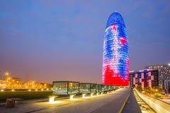 Barcelona przy nocy Agbar wierza Zdjęcie Stock