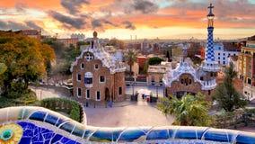 Barcelona przy zmierzchem, parkowy Guell, nikt obraz royalty free