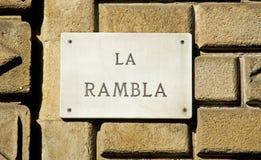 Barcelona punkt zwrotny: Losu Angeles Rambla Drogowy znak Obrazy Royalty Free