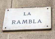 Barcelona punkt zwrotny - losu angeles Rambla znak uliczny Obraz Stock
