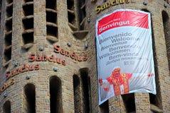 Barcelona que começ pronta para a visita do papa Imagens de Stock Royalty Free