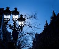 Barcelona Rambla Catalunya streetlights backligth Royalty Free Stock Photo
