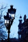 Barcelona Rambla Catalunya streetlights backligth Stock Photography