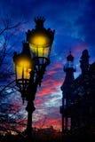 Barcelona Rambla Catalunya streetlights backligth Royalty Free Stock Photos