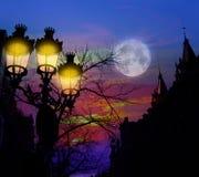 Barcelona Rambla Catalunya streetlightsbackligth Royaltyfri Fotografi