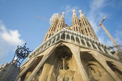 Barcelona, Spain - October 14, 2017. The Sagrada Familia is a Catholic basilica of Barcelona. Royalty Free Stock Photo