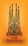 Barcelona-Reisegrußkarte.  Sagrada Familia lokalisiert auf weißem Hintergrund Lizenzfreie Stockfotografie