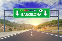 Barcelona road sign on highway. Close Royalty Free Stock Images