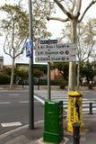 Barcelona. Road sign. Royalty Free Stock Photos