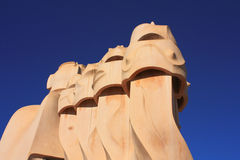 Barcelona. Roof guardian by Gaudi Royalty Free Stock Photography