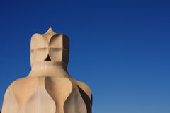 Barcelona. Roof guardian by Gaudi Stock Image
