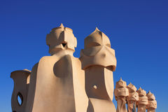 Barcelona. Roof guardian by Gaudi Stock Photos