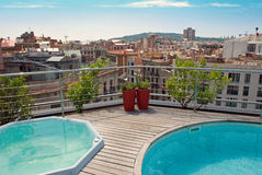 Barcelona Roof Top Pool Royalty Free Stock Photos
