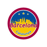 Barcelona in round icon. Barcelona, Spain city skyline silhouette in round icon Royalty Free Stock Images
