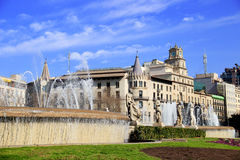 Square Catalonia in Barcelona. Barcelona's city centre with blue sky Royalty Free Stock Photo