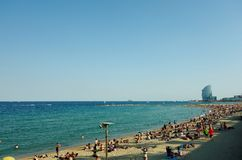 Barcelona's famous Barceloneta. One of Barcelona's hotspots, the seafront known as La Barceloneta, on a hot summer day Royalty Free Stock Image