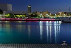 Barcelona,s harbor at night royalty free stock photos