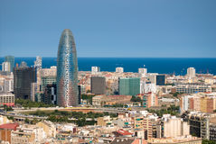 Barcelona's landscape. Landscape of Barcelona, facing Agbar Tower stock photo