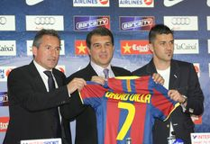 Barcelona's new signing David Villa Stock Photo