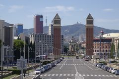 Barcelona ` s Plac De españa Obciosujący Hiszpania od targ handlowy obraz royalty free