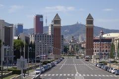 Barcelona-` s Plaza de España Square von Spanien von der Handelsmesse lizenzfreies stockbild