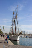 Barcelona's seafront beautiful sailing ship Royalty Free Stock Photo