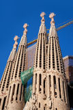 Barcelona Sagrada Familia cathedral by Gaudi. Architect still unfinished royalty free stock images