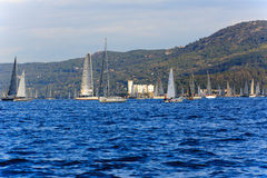 Barcelona. Sails parading in front of the castle of Miramare during the Barcolana contest in Trieste, Italy Stock Photos