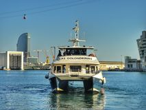 Barcelona from sea. Barceloneta beach and Port Olimpic. Royalty Free Stock Images