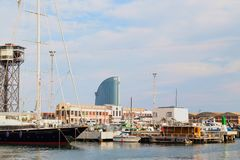 Barcelona sea port 28.06.2018. Parking for yachts and small vessels. Seascape. Barcelona sea port 28.06.2018. Parking for yachts and small vessels stock image