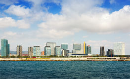 Barcelona from sea side. New houses Royalty Free Stock Photo