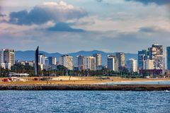 Barcelona Sea View Skyline. City of Barcelona skyline from the sea in Catalonia, Spain stock images