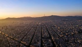Barcelona seen from drone. A drone photo of the city of Barcelona stock photography