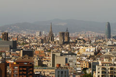 Barcelona seen from Montjuic Royalty Free Stock Photos