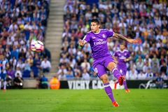 James Rodriguez plays at the La Liga match between RCD Espanyol and Real Madrid CF at RCDE Stadium. BARCELONA - SEP 18: James Rodriguez plays at the La Liga stock image