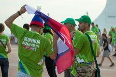 BARCELONA - SEPTEMBER 6: Slovenia fans before match Royalty Free Stock Photos