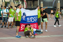 BARCELONA - SEPTEMBER 6: Slovenia fans before match Royalty Free Stock Photography