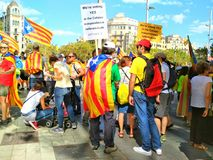 Barcelona, 11 septembre 2017: Maart voor de onafhankelijkheid van Catalonië Stock Afbeelding