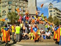 Barcelona, 11 septembre 2017: Maart voor de onafhankelijkheid van Catalonië Royalty-vrije Stock Fotografie