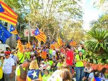 Barcelona, 11 septembre 2017: Maart voor de onafhankelijkheid van Catalonië Stock Foto's