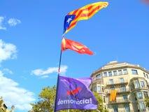 Barcelona, 11 septembre 2017: Maart voor de onafhankelijkheid van Catalonië Stock Fotografie