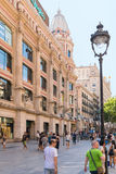 Barcelona, shopping in the pedestrian zone Stock Photos
