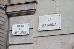 Barcelona, sign the rambla. Barcelona, road sign pointing the rambla Royalty Free Stock Photo