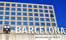 Barcelona sign on the Sants railway station. Barcelona sign on the facade of Sants railway station, Barcelona city, Spain Stock Photography